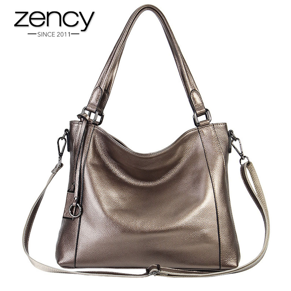 Zency Soft Skin 100% Genuine Leather Fashion Women Shoulder Bag Black Handbag Large Capacity Lady Messenger Crossbody Purse
