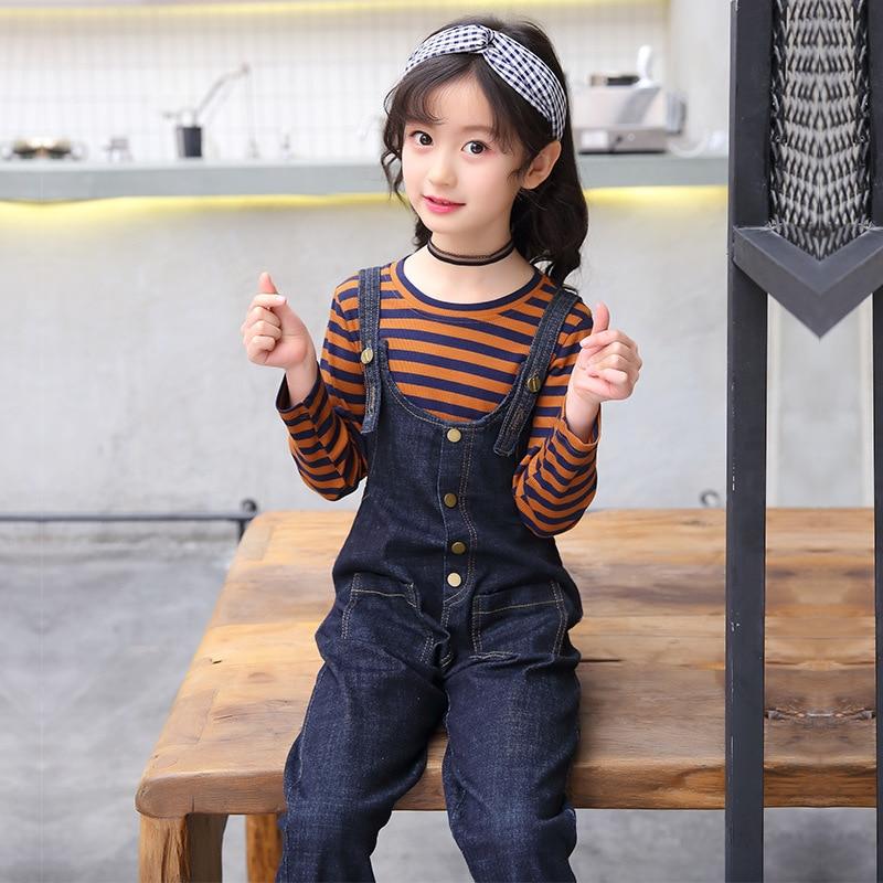 2018 Autumn Winter Girls Clothes Long-sleeve Stripe T-shirt + Denim Jumpsuits Toddler Girls Clothing Sets Winter Suits For Girls long raglan sleeve lace panel stripe t shirt