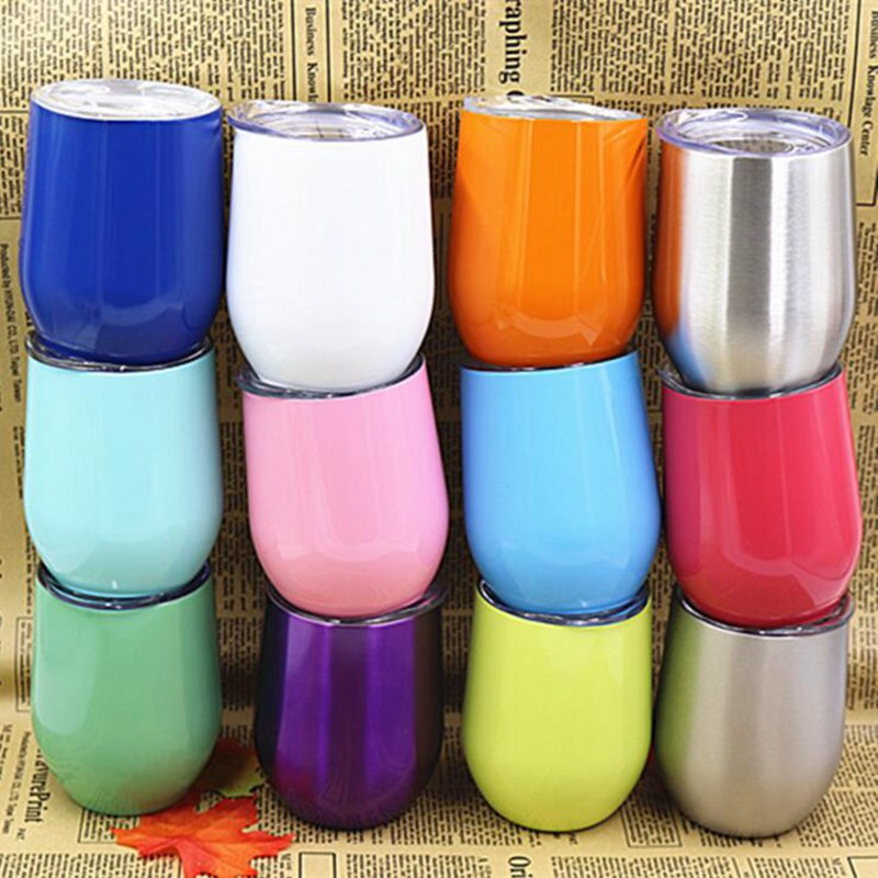 094a97268fc US $13.9 |12oz stemless wine glass tumbler with lid 304 stainless steel  vacuum insulated mug can customized color-in Mugs from Home & Garden on ...