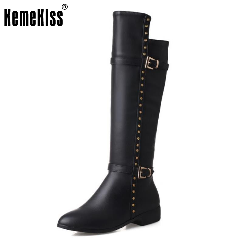 ФОТО New Woman Pointed Toe Knee Boots Fashion Rivets Flat Knight Boot Brand Quality Female Buckle Style Shoes Footwear Size 33-43