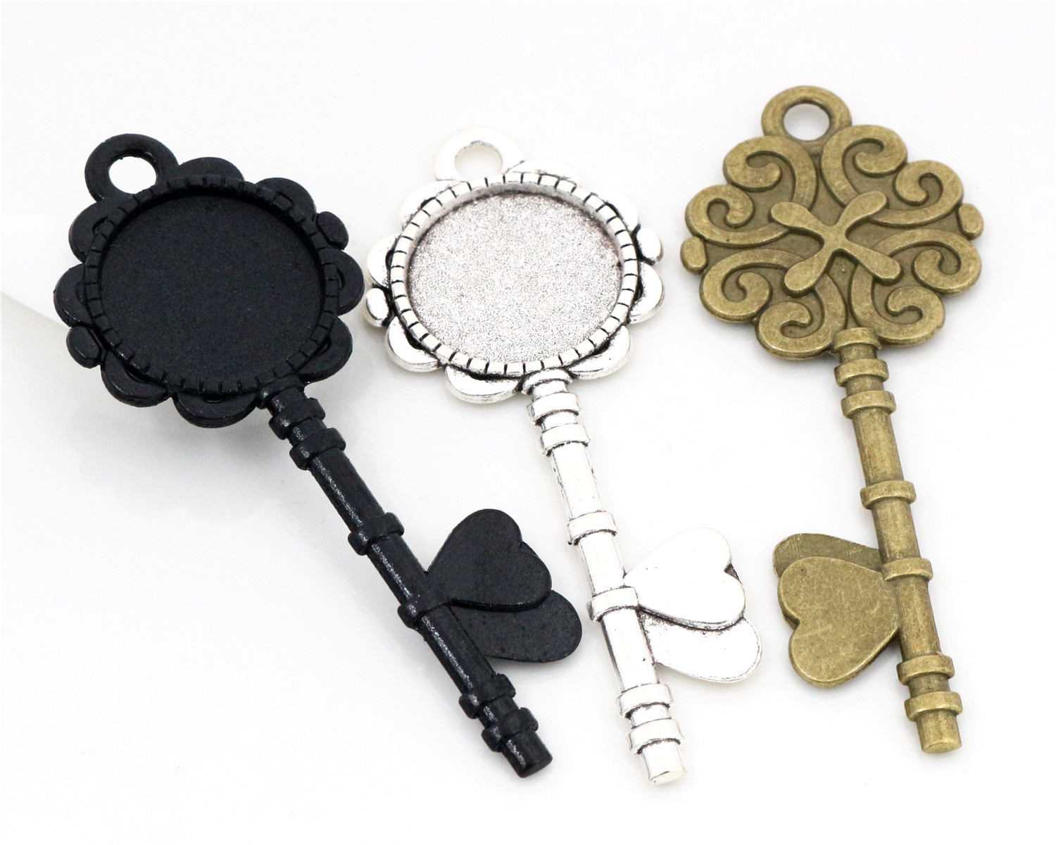 5pcs 20mm Inner Size Black And Antique Silver And Bronze Key Style Cabochon Base Setting Charms Pendant