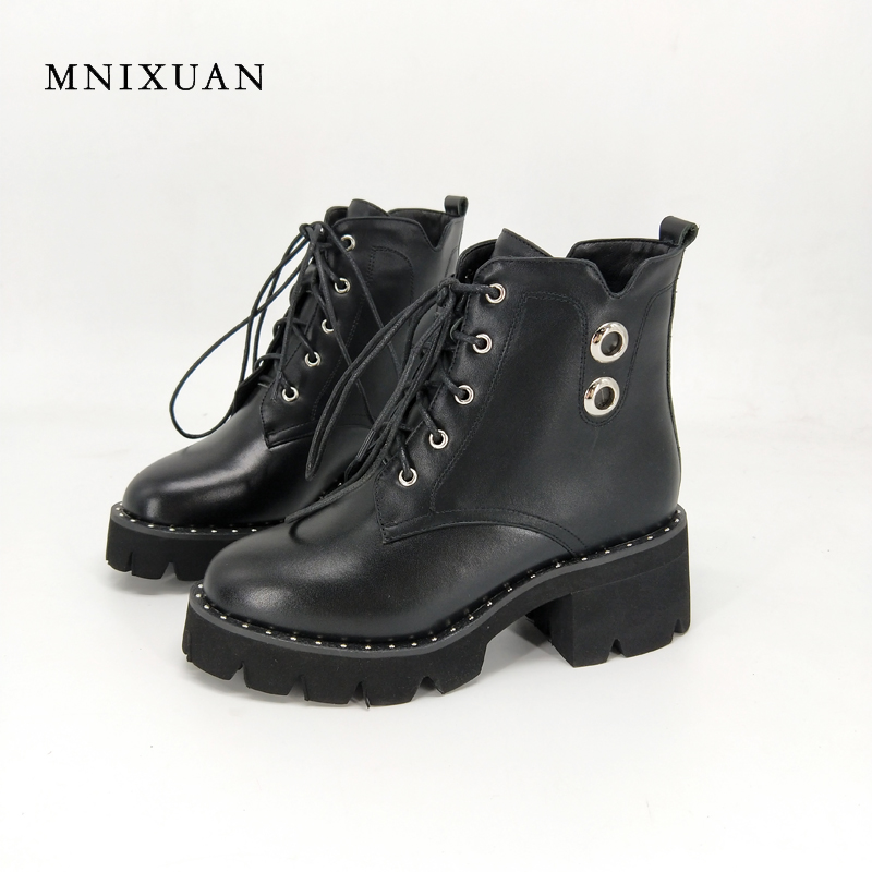 цены Shoes women 2017 antumn winter genuine leather ankle boots lace up block high heels martin boots platform motorcycle short boots