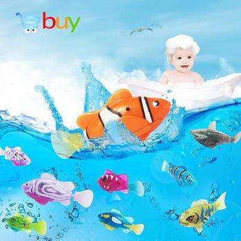 Flash pływanie elektroniczny zwierzak ryby zabawki do kąpieli dla dzieci wanna dla dzieci zasilany z baterii pływać Robotic do wędkowania dekoracja zbiornika tanie i dobre opinie zhtrade 3 lat TH228 Button Cell Unisex Z tworzywa sztucznego Sea life Mini Miga Edukacyjne Zasilanie bateryjne Water Toy