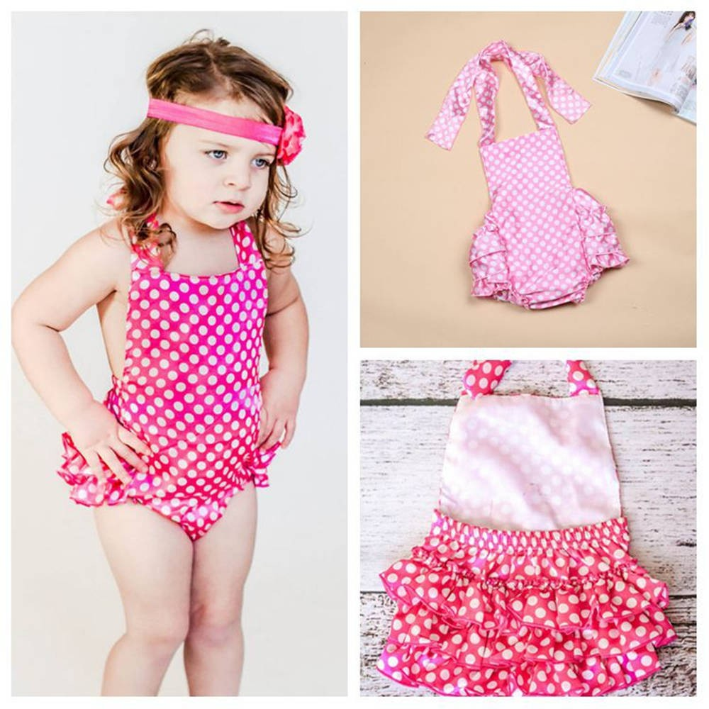 Baby Girls One Piece Swimsuit Baby Swimwear Suit 1-2T Infant Kinds Swimsuit Ruffle accent