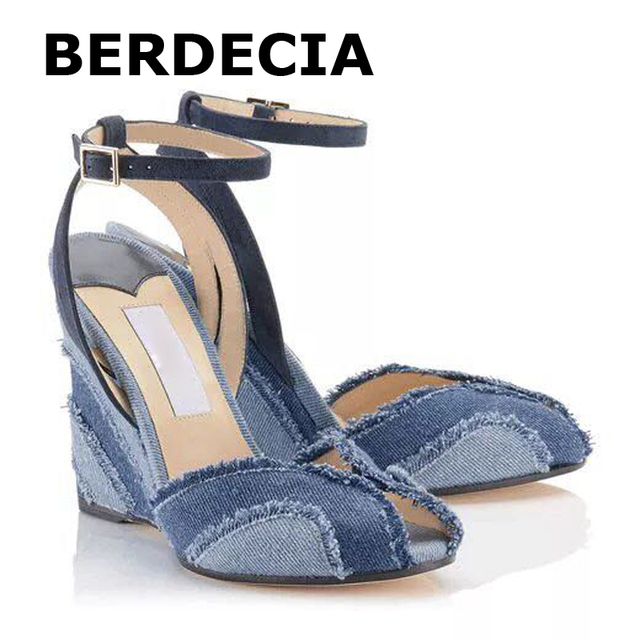 b8d949bd10 LTTL Denim Shoes Women Wedge Sandals Women Peep Toe Platform Sandals Ankle  Strap High Heels Blue Denim Sandals