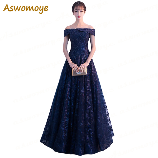 5c0bf6c8e1219 Off Shoulder Long Evening Dress 2018 Haute Couture Party Dresses A Line  Sleeveless Sequined Prom Dress Lace Up robe de soiree