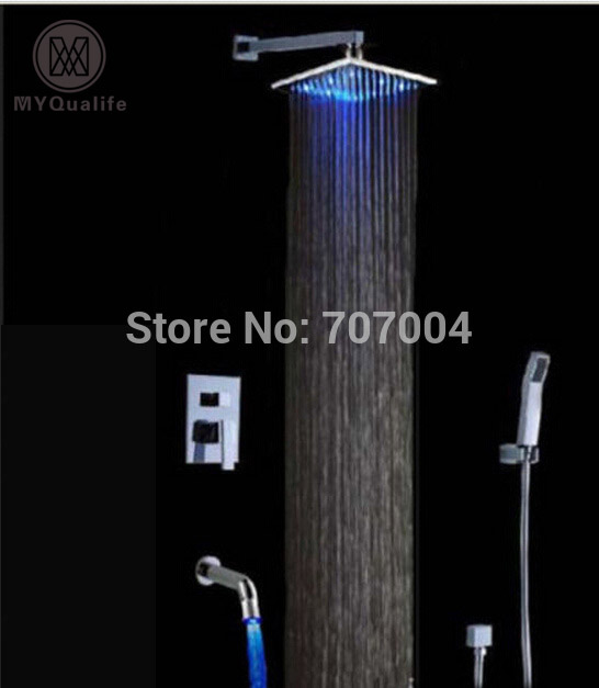 Newly Wall Mount Concealed LED Light Shower Faucet Sets Chrome Finish Bath Shower Mixer tap with Handshower wall mount single handle bath shower faucet with handshower antique brass bathroom shower mixer tap