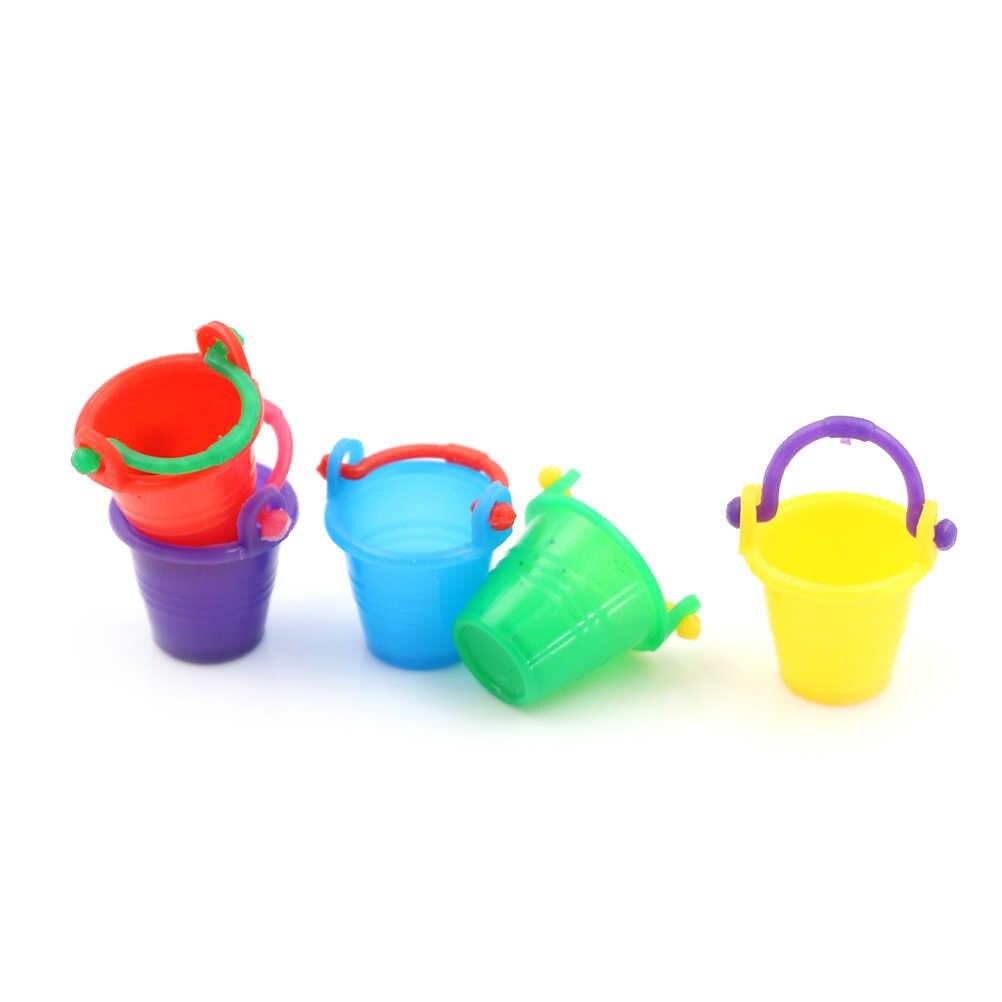 1:12 Schaal Kleurrijke Plastic emmer Micro Tuin Gereedschap Benodigdheden Thuis Keuken Decor Pretnd Play Game Fairy Poppenhuis Accessoires