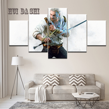 Hot Movie Game Witcher 3: Wild Hunt warrior Canvas Poster Modern 5 Panel Wall Art Paintings Print Picture Living Room Home Decor