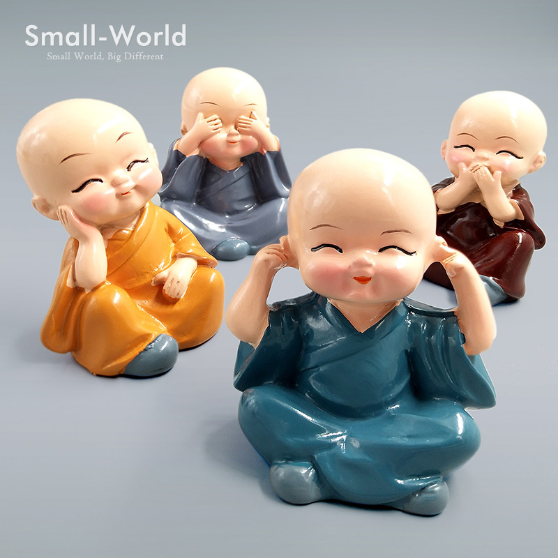 Chinese Monks Figurine Buddhist Figures Shaolin Sculpture Statue Resin Craft Home Decoration Car Ornament Toy Photograph