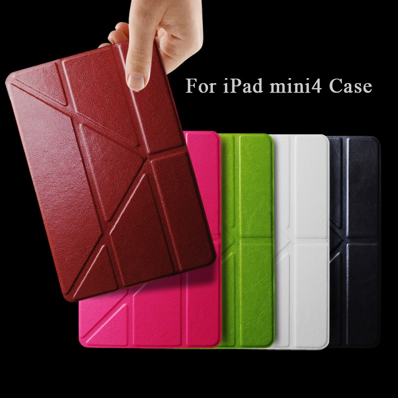 Fashion Luxury Transformer Case For Apple iPad Mini4 Mini 4 tablet Smart Wake Sleep PU Leather Flip Stand Book Protector Cover