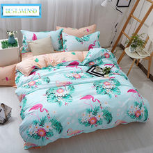 c8ff3b1c7d WENSD lençóis de Algodão Folha de flamingo animais Dos Desenhos Animados  cama de Luxo capa de edredão macio crianças gêm.