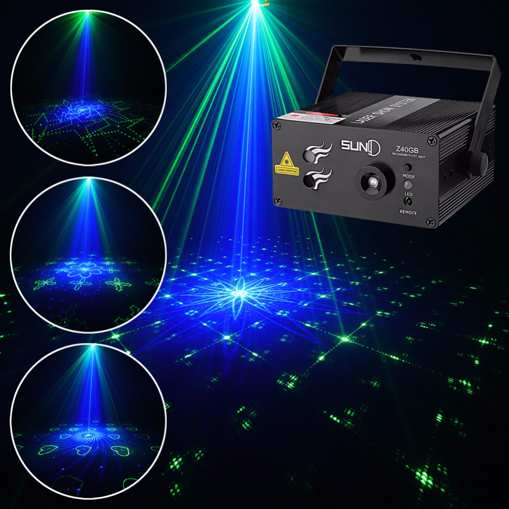 SUNY 40 GB Patterns Laser Light Blue LED Stage Light Sound Activated Gobo Projector Show for Club Bar DJ Disco Home Party(Z40GB)