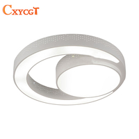 Modern LED Ceiling Light Fixture Flush Mounted Acrylic Ring Light Lustres Ceiling Lighting 2 Rings LED