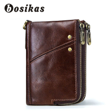BOSIKAS Men Genuine Leather Wallet Male Purse with Coin Pocket Zipper Wallet Credit Card Holder Wallets Men Short Leather Wallet