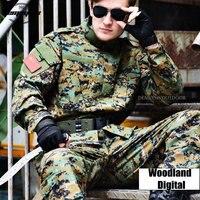 Woodland Digital Camouflage Suit Tactical Sets Army Military Uniform Combat Airsoft Uniform Shirt + Pants