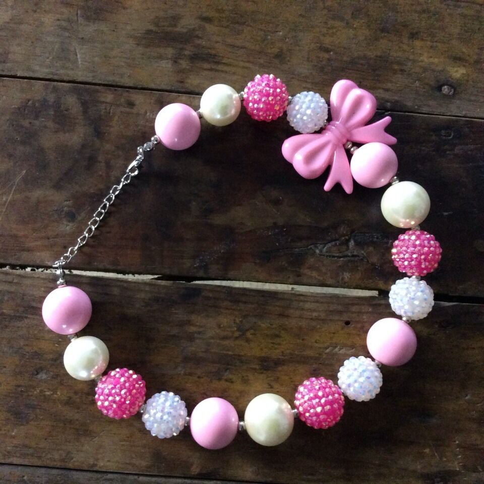 colorful handmade fashion kids pink bow chunky bubblegum necklace for sale