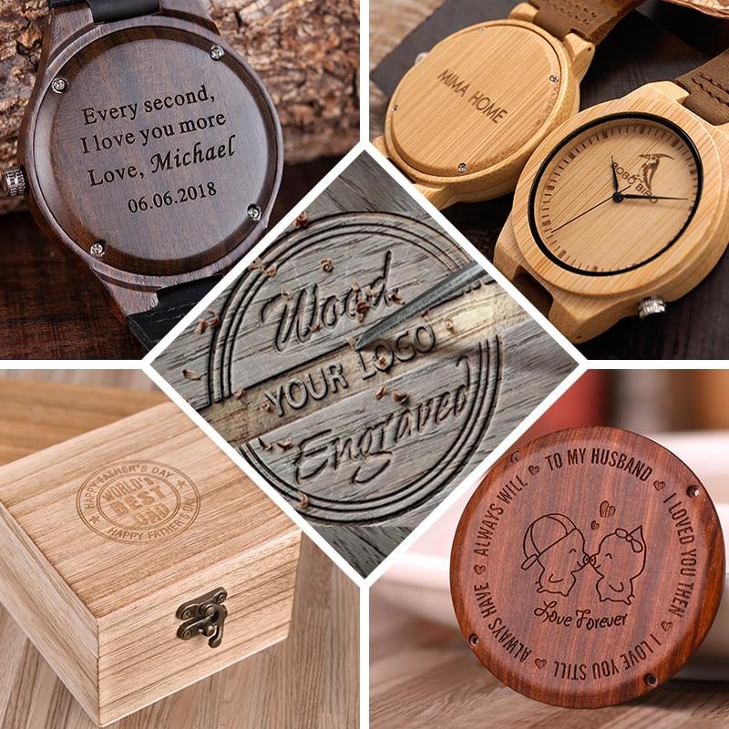 Logo de design de personalidade criativa, mensagem entalhada, relógio de madeira de bambu customizado, impressão customizada a laser, OEM, sem produto