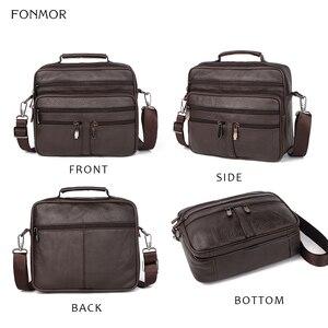 Image 2 - FONMOR Genuine Leather Men Briefcases Fashion Business Tote Bags  Multi layer Shoulder Crossbody Bag Mens Handbags Travel Bag