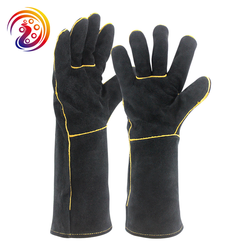 OLSON DEEPAK Black Welders Gloves Cow Split Leather Factory Gardening Welding Wood Stove Work Gloves Heat Resistant HY034(China)