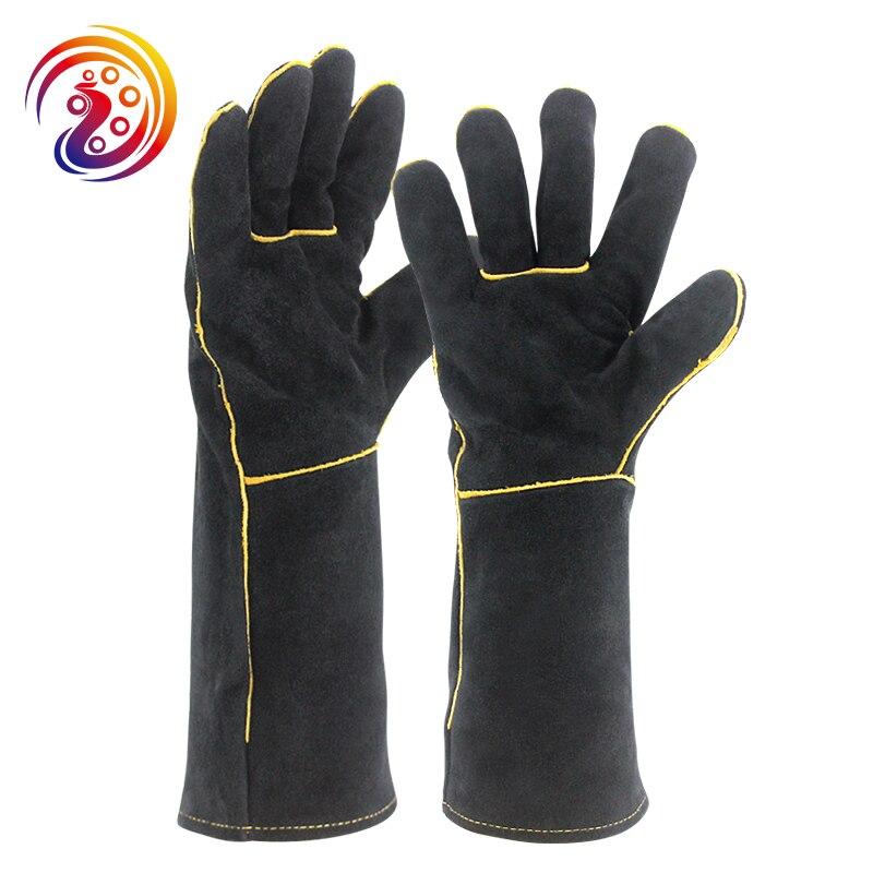 אולסון דיפאק שחור כפפות רתכים כפפות עבודת תנור עץ גינון מפעל ריתוך עור מפוצל פרה עמיד בחום HY034