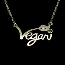 Silver Vegan Necklace Pendant Choker