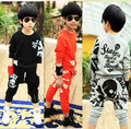 2015 new Children's clothing  child spring and autumn  skull thin long-sleeve boy sport clothing set