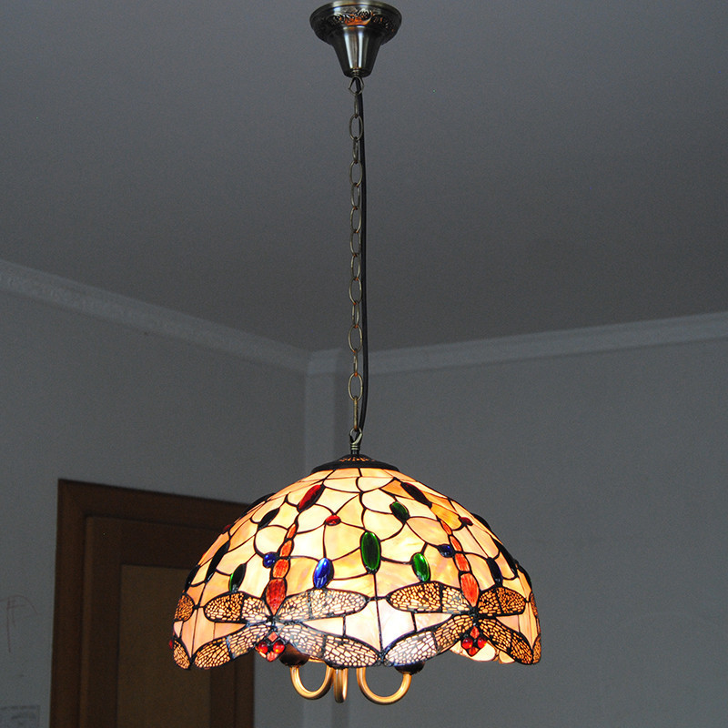 Tiffany chandelier lighting tiffanylampe vintage stained glass tiffany chandelier lighting tiffanylampe vintage stained glass hanging light living room dragonfly pattern lamp shade 16 pl809 in pendant lights from aloadofball Images