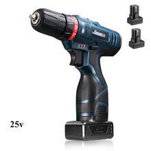 LONGYUN 25V Cordless Screwdrive battery Rechargeable Battery*2  Electric Drill power tools electric screwdriver Power Screw gun