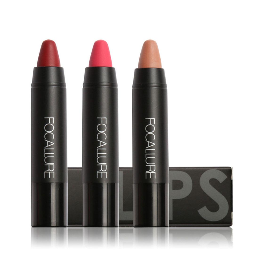 TOP FOCALLURE Waterproof Long-lasting Red Velvet Nude Tattoo Matte True Brown Color Pencil Lipstick Crayon Lot Makeup Set