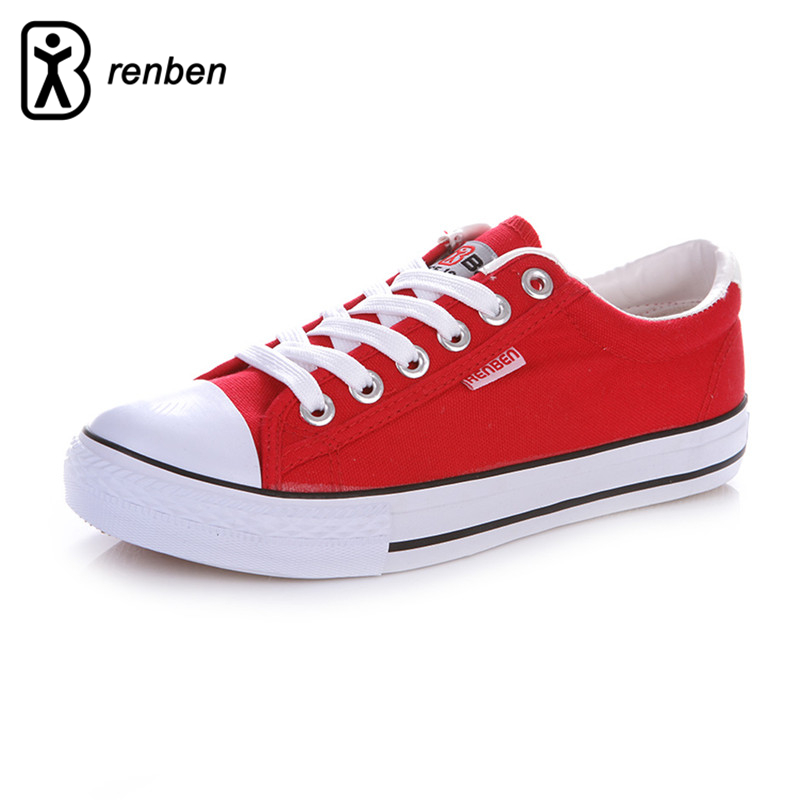 RenBen Flats Casual Shoes Women Fashion Canvas Red Lightweight Loafers Female Shoes Woman Breathable Lace-up zapatos mujer Shoes instantarts casual women s flats shoes emoji face puzzle pattern ladies lace up sneakers female lightweight mess fashion flats