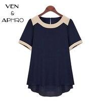 VA Plus Size 2015 Summer Women Short Sleeve Spliced Chiffon Shirt Ladies Solid High Street Casual