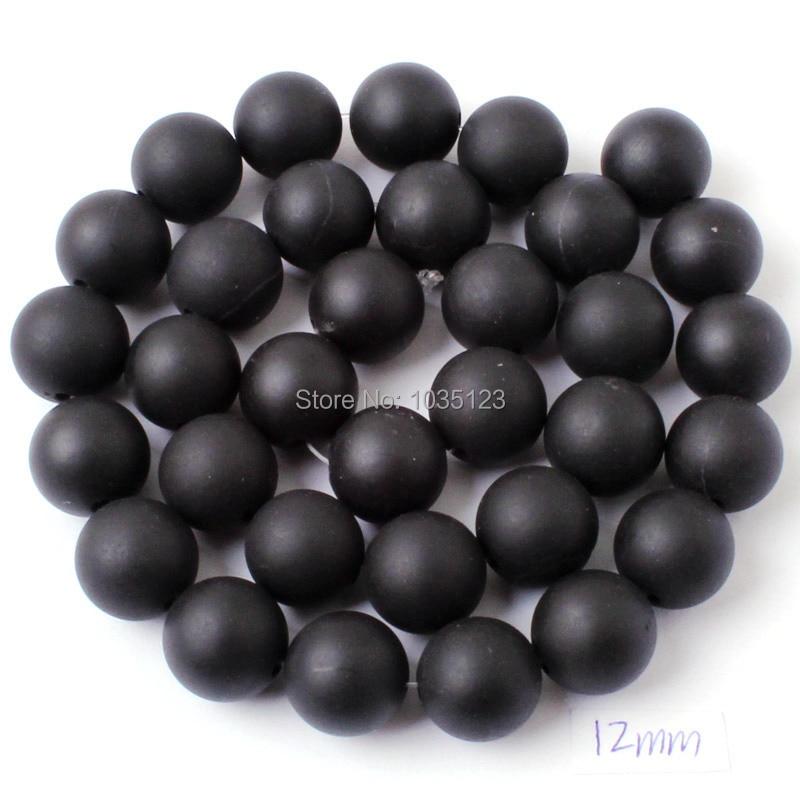 Kualitas tinggi Putaran Batu Akik Alami Buram Hitam Gelang Kalung - Perhiasan fashion - Foto 6