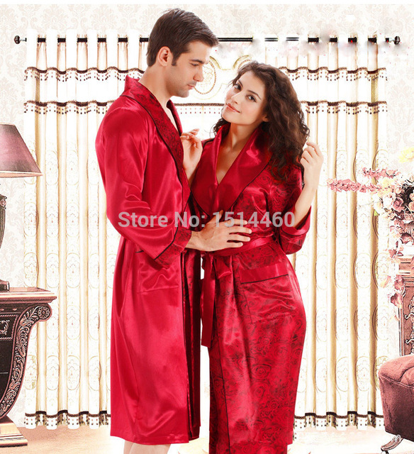 3a34193f5c Wholesale home lounge sleepwear night dress men winter long sleeve sexy  lady nightgown married couple silk robes pajamas