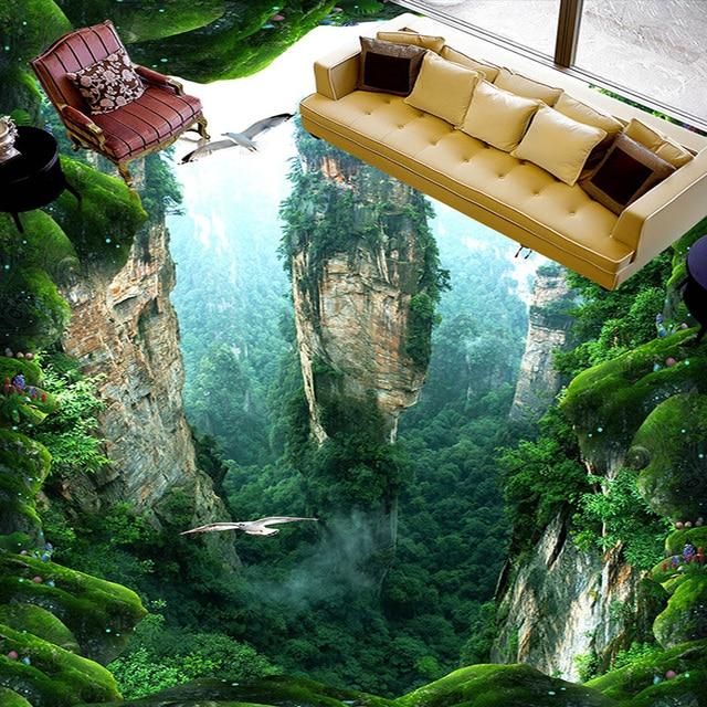 Custom 3d Mural Floor Wallpaper Cliff Scenery Pvc Wear Waterproof For Bathroom 3d Floor Wall