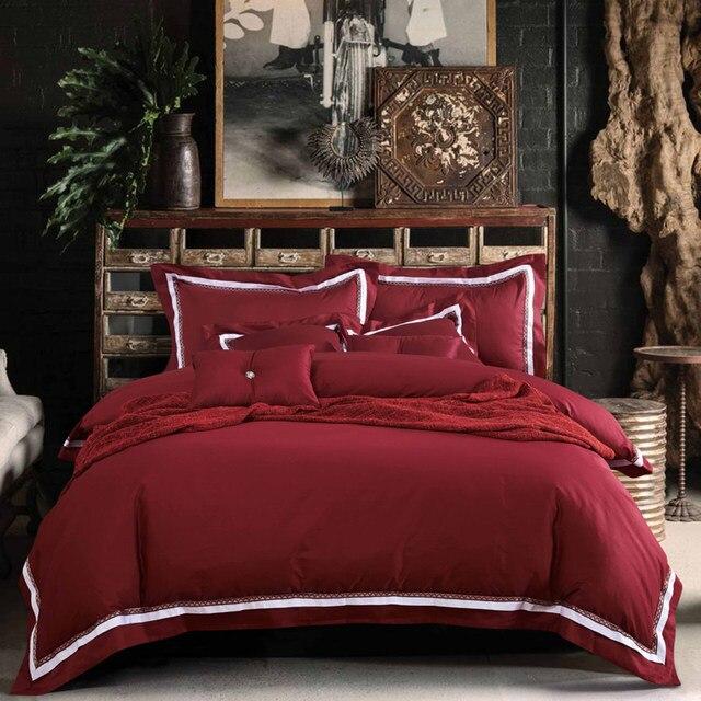100% Cotton 4PC Wine Red Bedding Set Queen Size Claret Duvet Cover King  Burgundy Housse De Couette Euro Double Blanket Cover