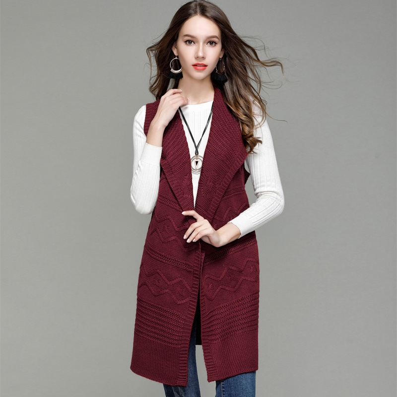 91fe26236 US $18.87 45% OFF|New Fashion Women's Clothing Knit Vest Women Long  Cardigans Sweater Turn down Collar Belt Sleeveless Coat Tops Outwear-in  Vests from ...