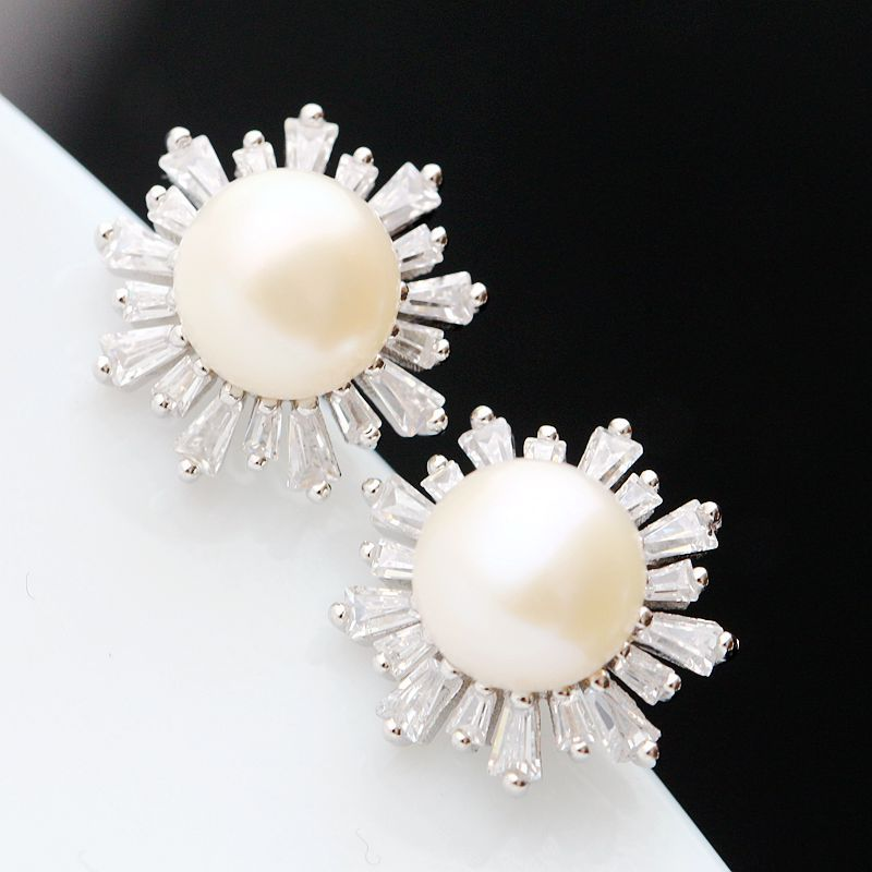 Ecoworld Ge hand set jewelry wholesale 925 Sterling Silver Earrings natural pearl earrings fashion lady Silver Earrings