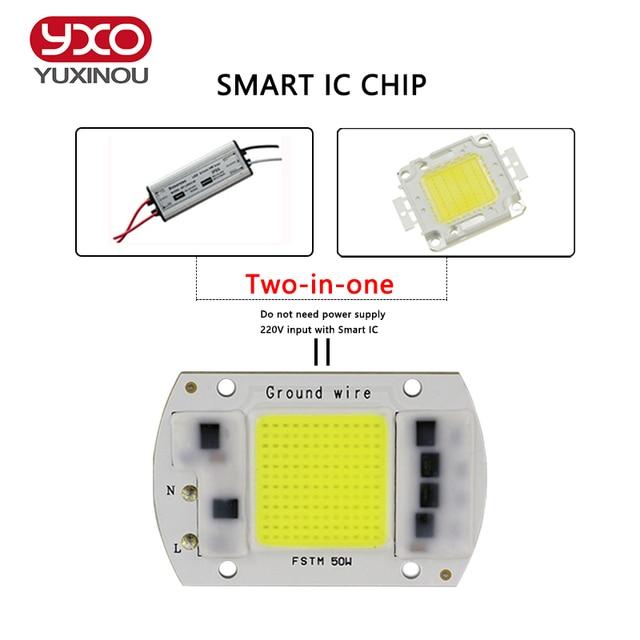 YXO YUXINOU LED COB Chip 50W 40W 30W 20W 10W AC 220V 110V No need driver Smart IC bulb lamp For DIY LED Floodlight Spotlight