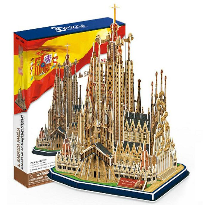 T0414 3D Puzzles Spain Church Of The Holy Family DIY Building Paper Model Kids Creative Gift Educational Toys Hot Sale