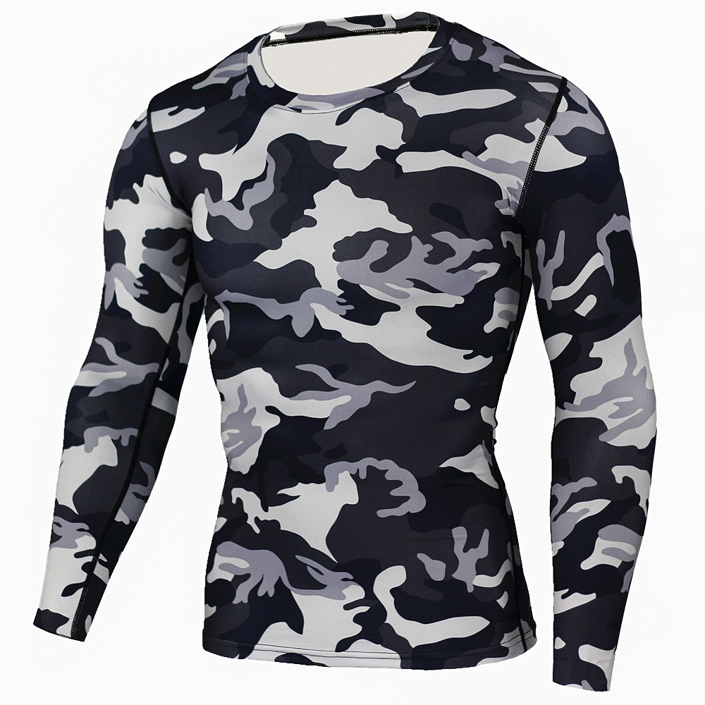 Ny Camouflage Military T-skjorte Bodybuilding Tights Fitness Menn Quick Tørr Camo Long Sleeve T-skjorte Crossfit Compression Shirt
