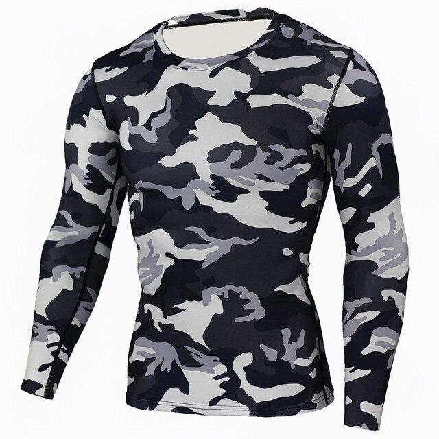 3a0fd0578f Nova Camiseta Musculação Calças de Camuflagem Militar Camo Camisas de Manga  Comprida T Crossfit Fitness Men