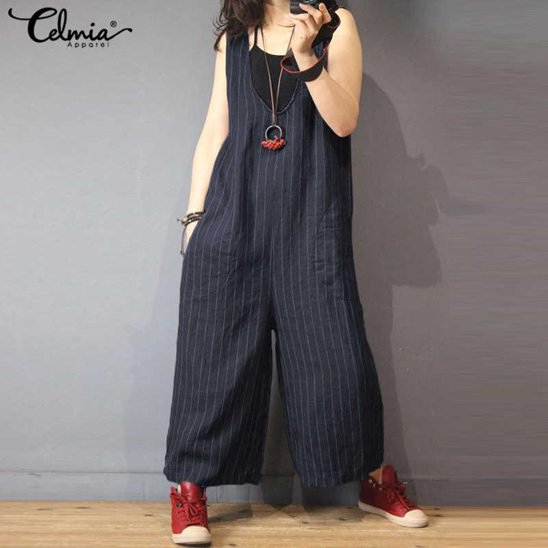 e19eebfd5cfd4d ... Plus Size Celmia Women Vintage Linen Jumpsuits 2018 Female Casual Loose  V Neck Sleeveless Striped Wide ...
