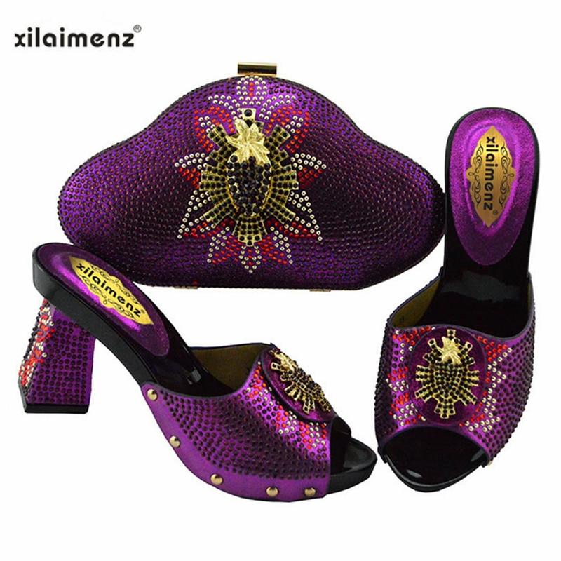 2019 nowy projekt włoski modne buty z pasująca torba zestaw do ślubu Party nigerii kobiety pompy buty i torby zestaw w Buty damskie na słupku od Buty na  Grupa 2