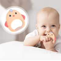 Food Grade Silicone Teethers Chicken Cartoon Pattern Cute Teether Newborn  Infant Baby Silicone Chew Charms BPA Free Wholesale