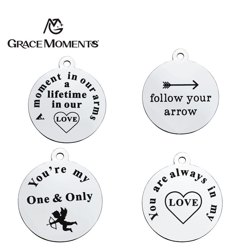 GRACE MOMENTS Round Stainless Steel Stamped Positive Words Sentences and Signs Heart Charm For DIY Jewelry Bracelet Necklace