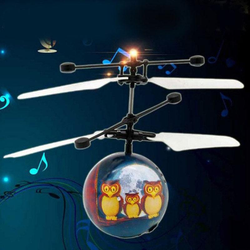 2019 Creative Owl Aircraft Light Flashing Flying Crystal Ball for Birthday Present Drop Shipping laser virtual keyboard