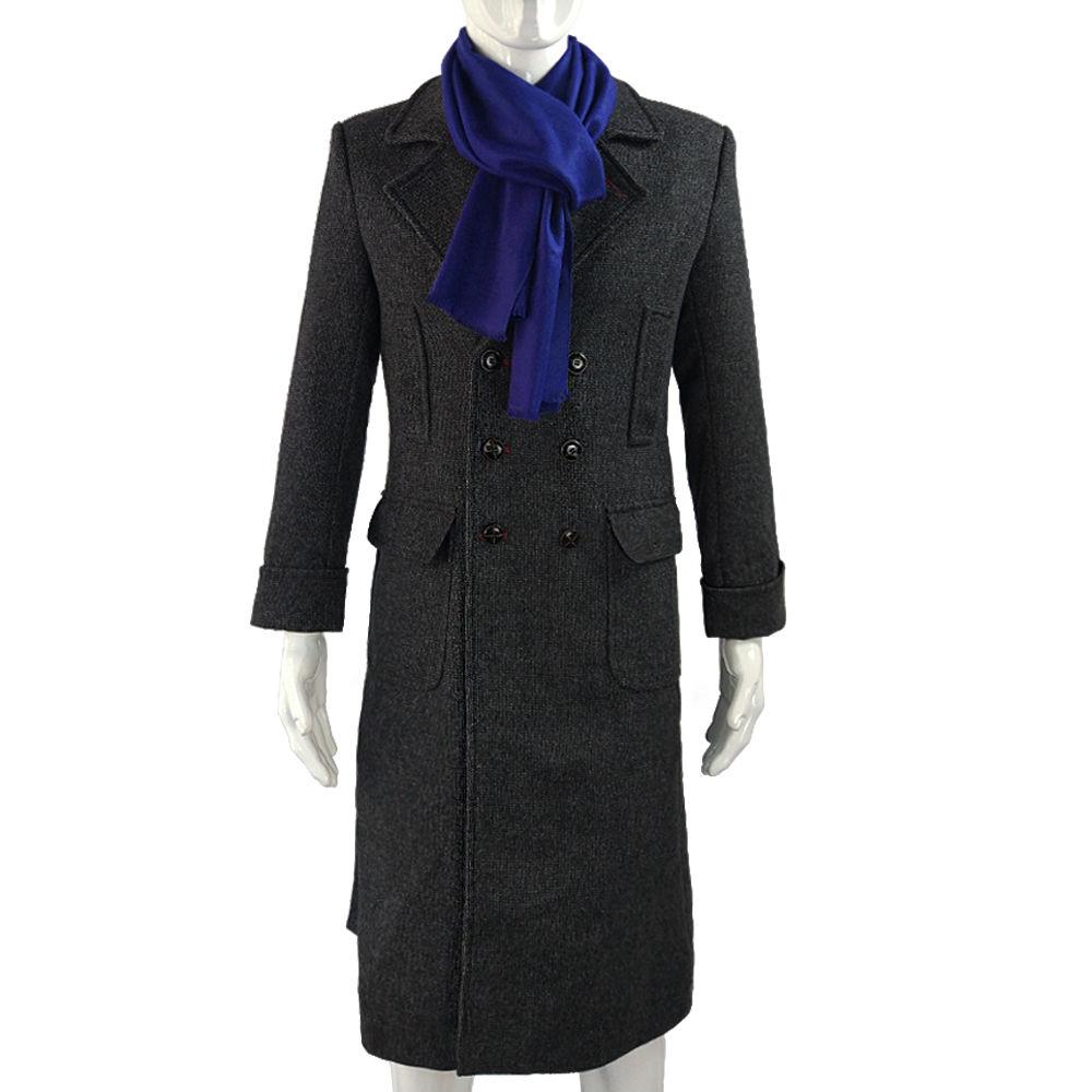 Fast Shipping Sherlock Holmes Cosplay Costume Jacket Men's Cape Men Long Trench Slim Overcoat Male Jacket Fashion Wool Outerwear