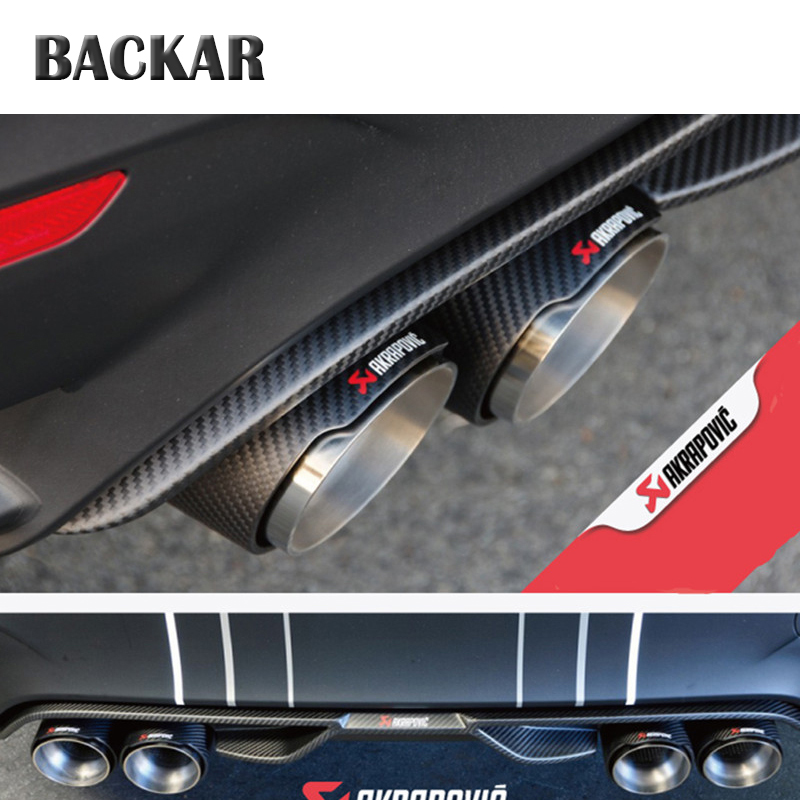 Backar Universal Auto Car Styling Akrapovic Carbon Fiber Exhaust Rear Tips Muffler Pipes For Hyundai Renault Citroen Accessories exhaust tips on jaguar xe