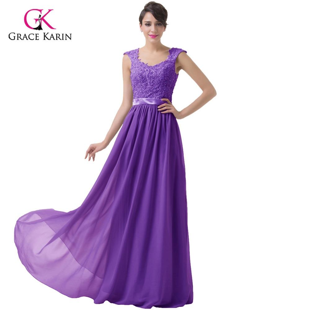 Elegant Stock Appliques Straps Grey Purple Cheap Bridesmaid Dresses ...